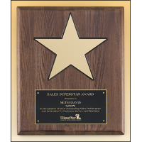 Star Walnut Stained Plaque