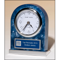 "4.75"" Blue Marbleized Acrylic Clock"