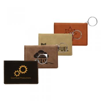 Custom Leatherette ID Holder Keychain