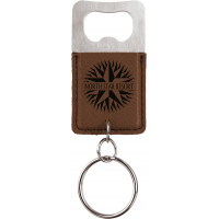 Custom Leatherette Rectangle Bottle Opener Keychain