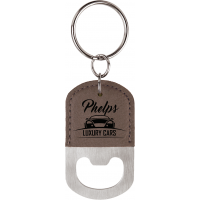 Custom Leatherette Oval Bottle Opener Keychain