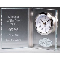 "5.375"" Glass Book with Clock Award"
