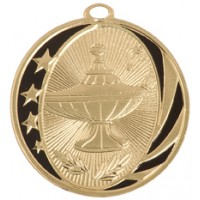"2"" MidNite Star Medal - Lamp of Knowledge"