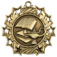 "2.25"" Ten Star Medal - Lamp of Knowledge"