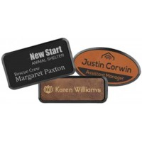 Leatherette Name Badge with Frame - 3 Sizes & 9 Colors