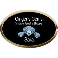 "1.5""x3.0"" Plastic Name Badge - Gold Oval"